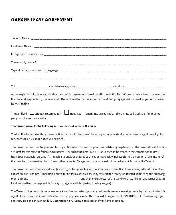 Garage Lease Agreement Form PDF Free Download