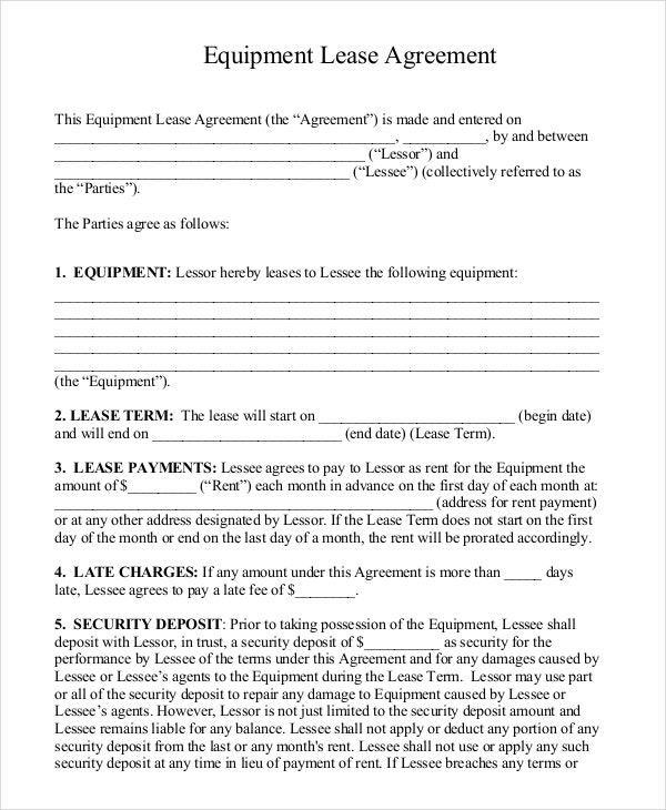 Free Download Equipment Lease Agreement PDF Format