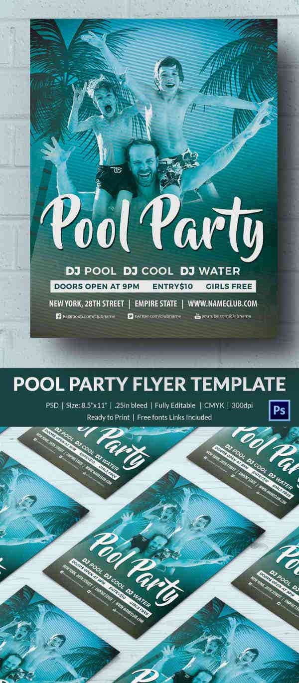pool party invitation psd format family pool party invitation