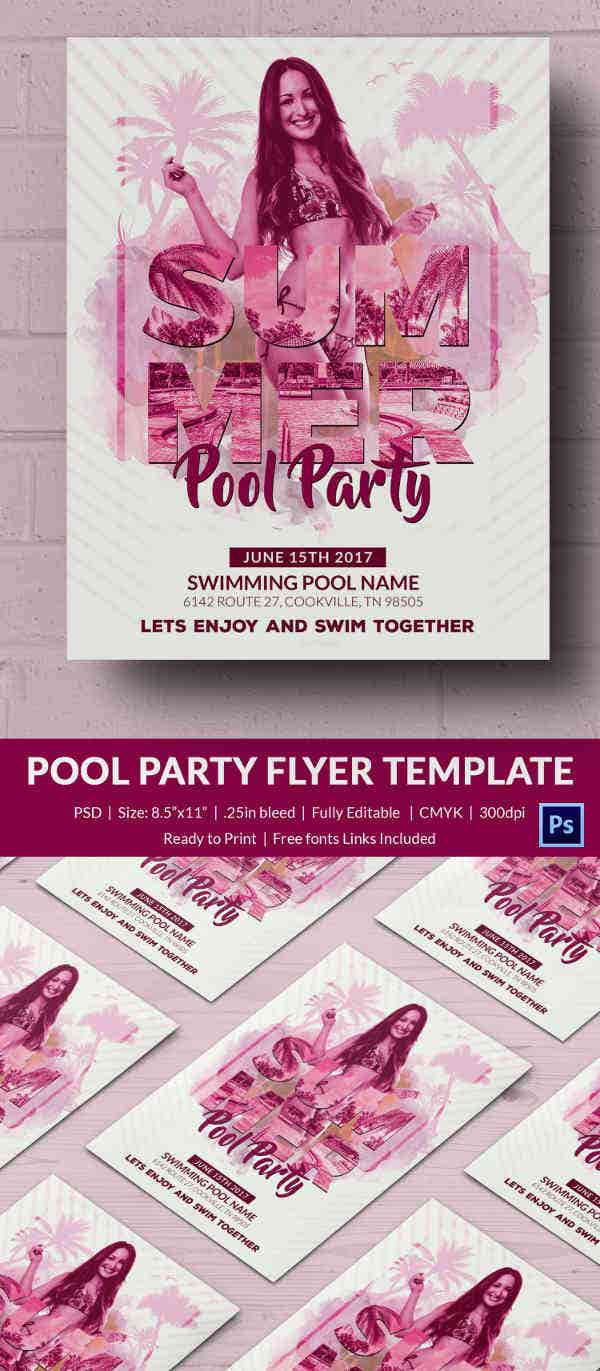 Pool party invitation template 37 free psd format for Club piscine flyer