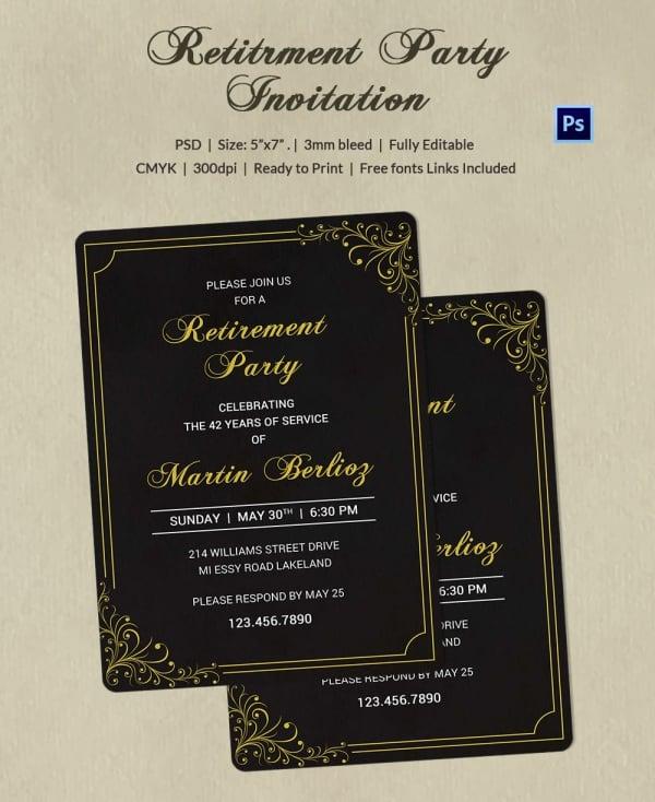 Black & Gold Retirement Invitation