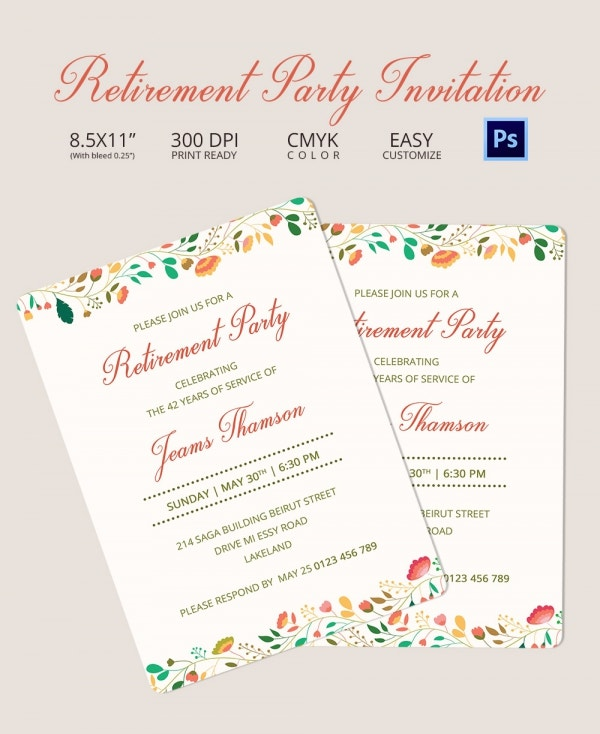 retirement party invitation template   free psd format, Party invitations