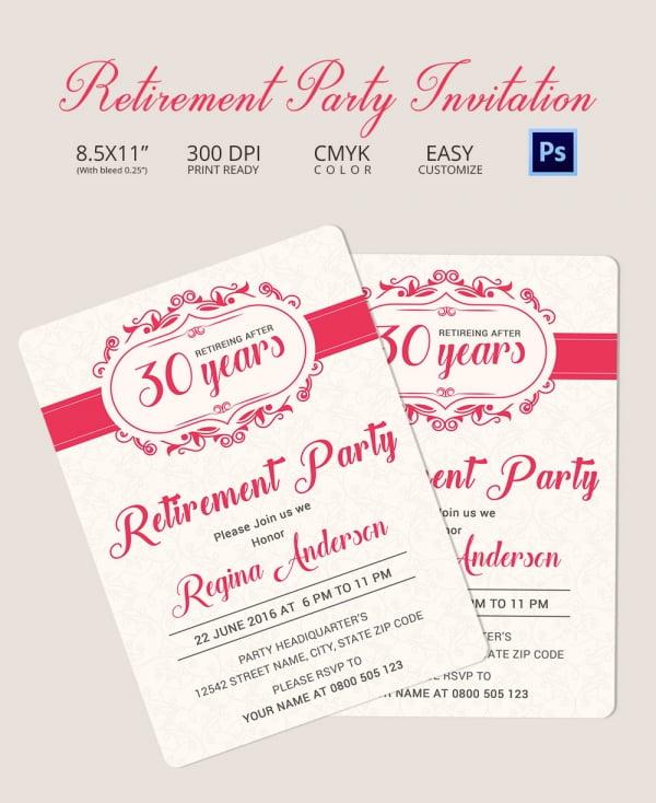 Sample Retirement Party Invitation