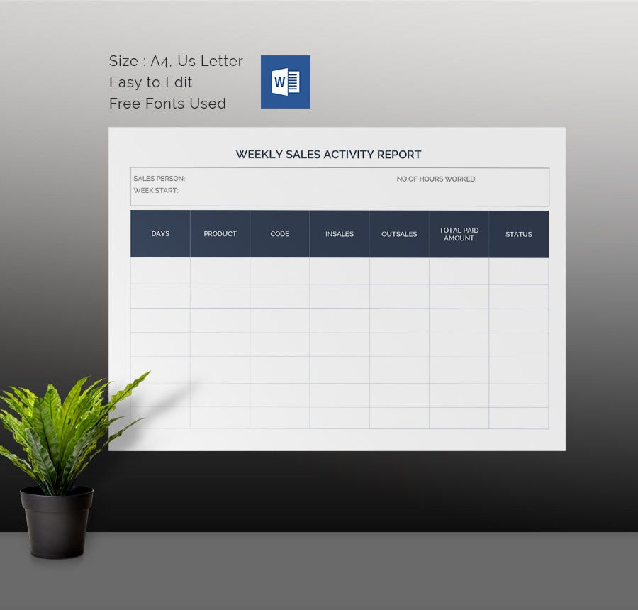 Weekly Activity Report Template 30 Free Word Excel PPT PDF – Sales Weekly Report Template