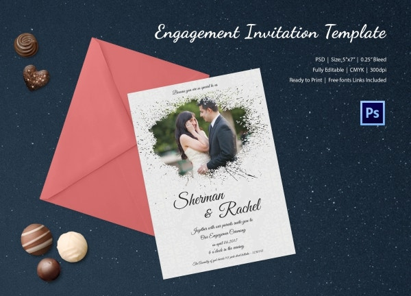 Vintage Engagement Invitation Template