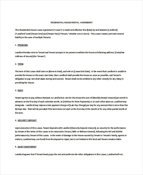 Residential Rental Agreement Templates  Free Sample Example