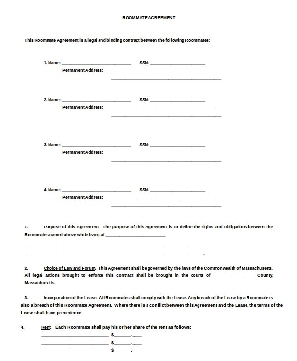 9 Room Rental Agreement Templates Free Sample Example Format – Roommate Lease Agreement