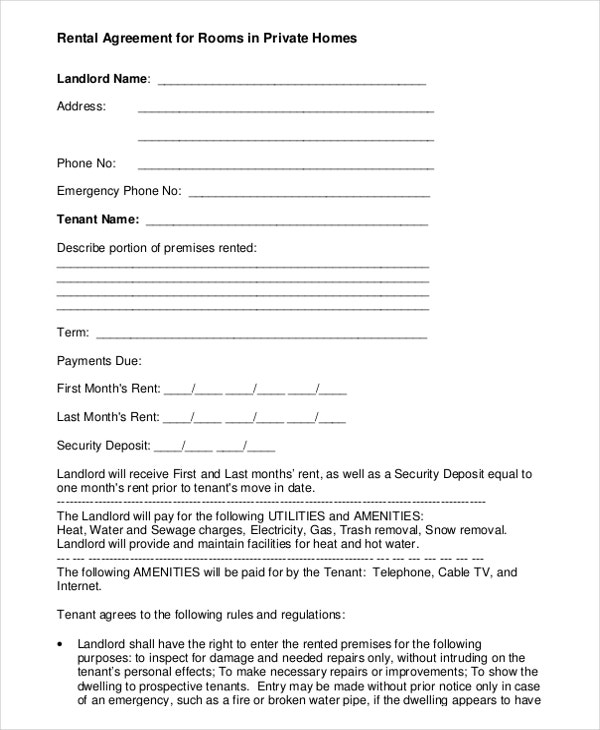 free download rental agreement for rooms in private homes pdf format