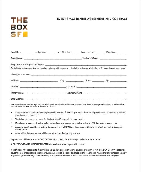 event room agreement template pdf free download
