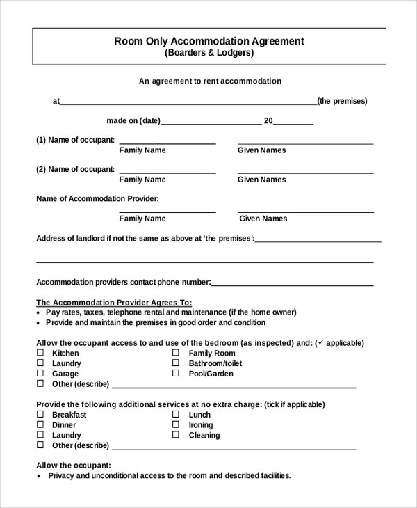 PDF Format Accommodation Room Rent Agreement Free Download. 9  Room Rental Agreement Templates   Free Sample  Example Format