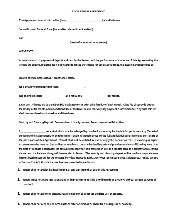 Room Rental Agreement Templates  Free Sample Example Format