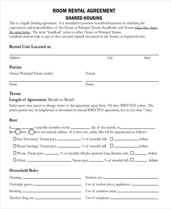 Room Lease Agreement. Printable Sample Rental Lease Agreement ...