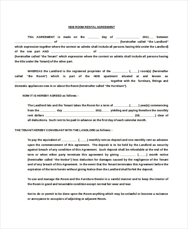 HDB Room Rental Agreement Free Doc Template Download  Free Room Rental Lease Agreement Template