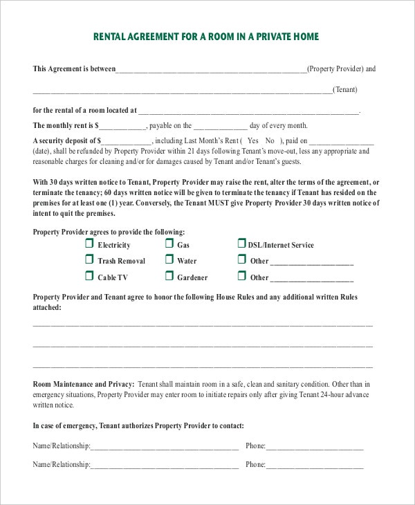 14 Room Rental Agreement Templates Free Downloadable