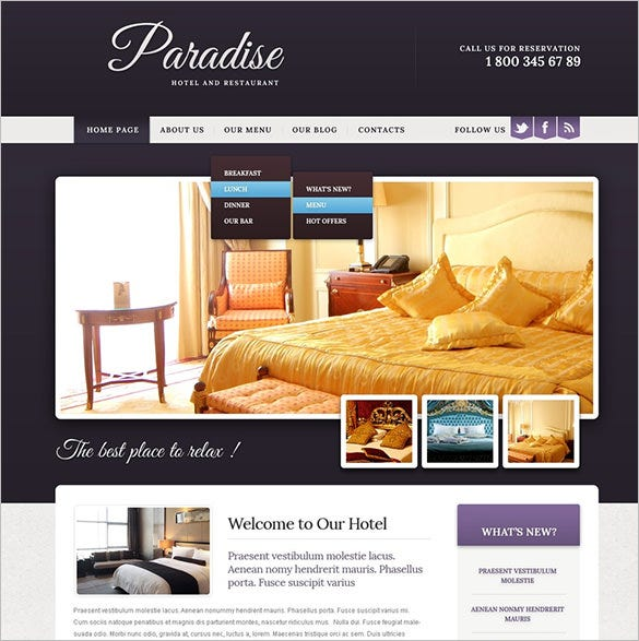 responsive hotel drupal template