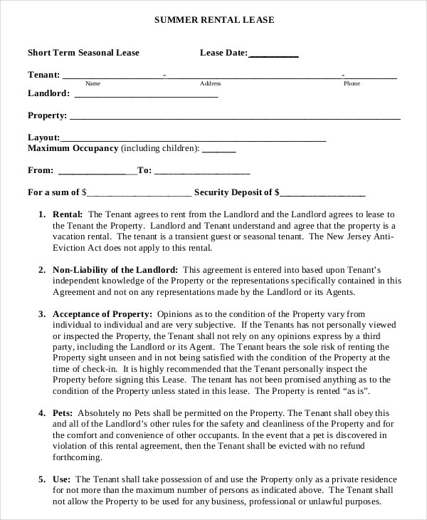 Summer Short Term Rental Lease Agreement Example Template Download  Apartment Lease Agreement Free Printable