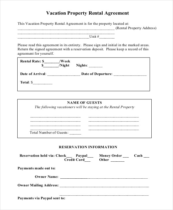 Vacation Property Short Term Rental Agreement Free Sample Download