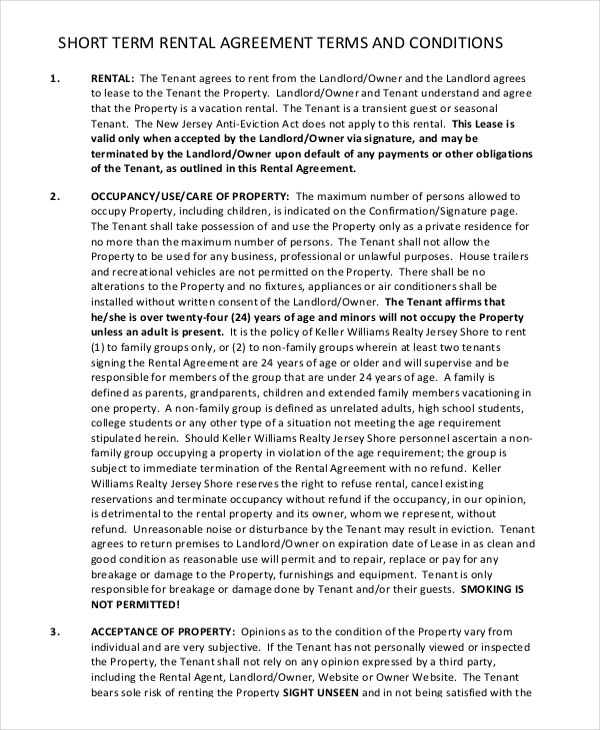 Sample Short Term Rental Agreement Terms and Conditions Template