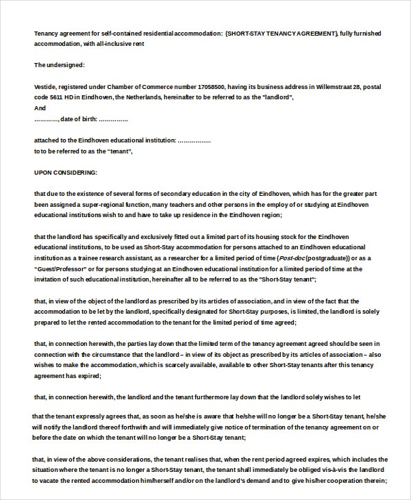 Short Stay Residential Rental Agreement Sample Template Download