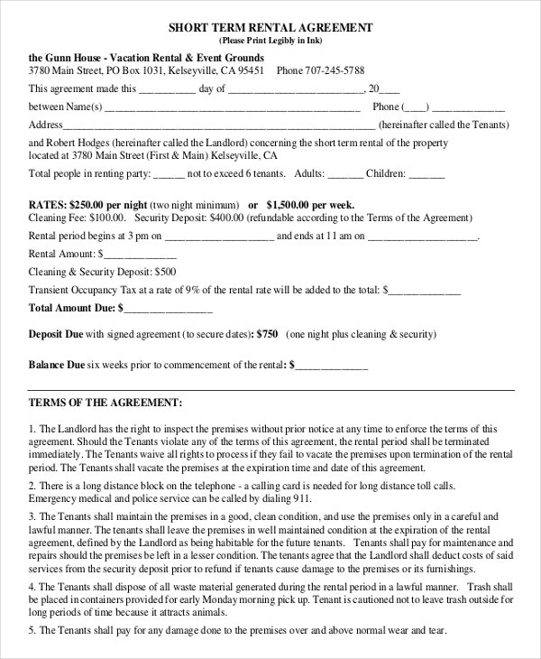 14 ShortTerm Rental Agreement Templates Free Sample Example – Sample Short Term Rental Agreement