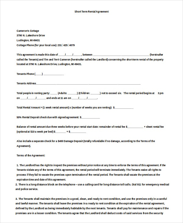 13 Simple Rental Agreement Templates Free Sample Example – Sample Short Term Rental Agreement
