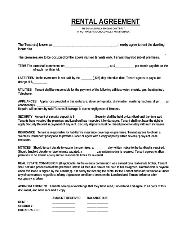 13 Simple Rental Agreement Templates Free Sample Example – Sample Rental Agreement Word Document