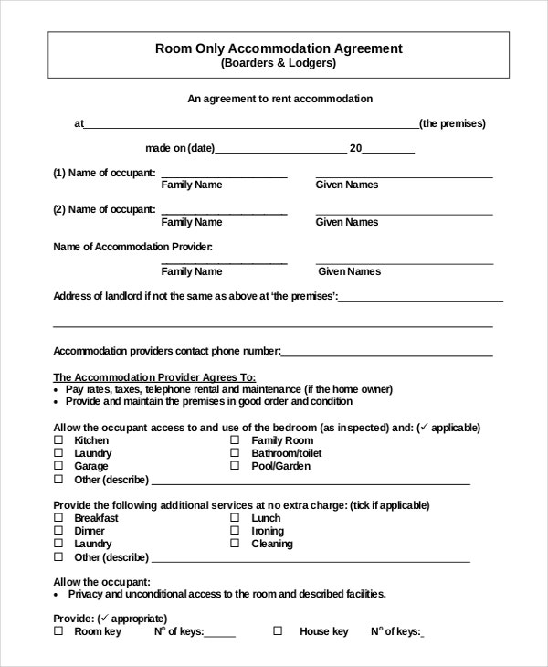 free download simple accommodation rental agreement pdf format