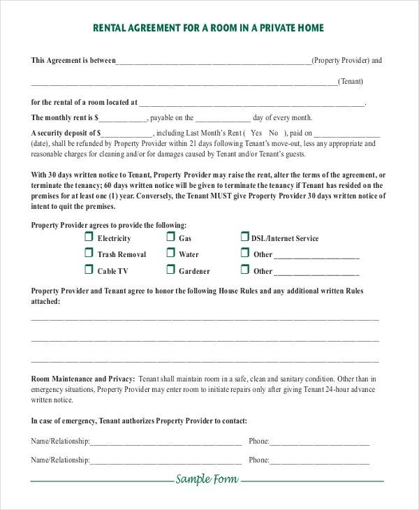 Simple Room Rental Agreement In Private Home  Private Agreement Template