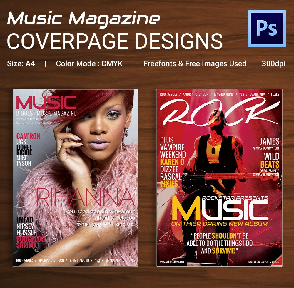 Music Magazine Cover Page Design