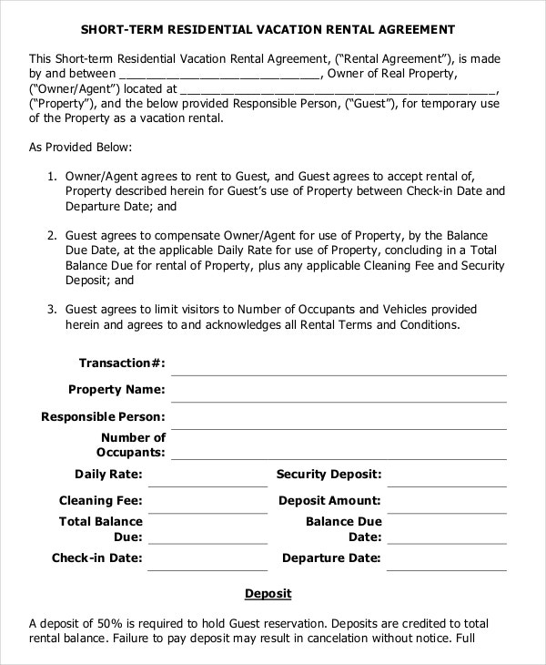 Vacation Rental Agreement  Free Sample Example Format