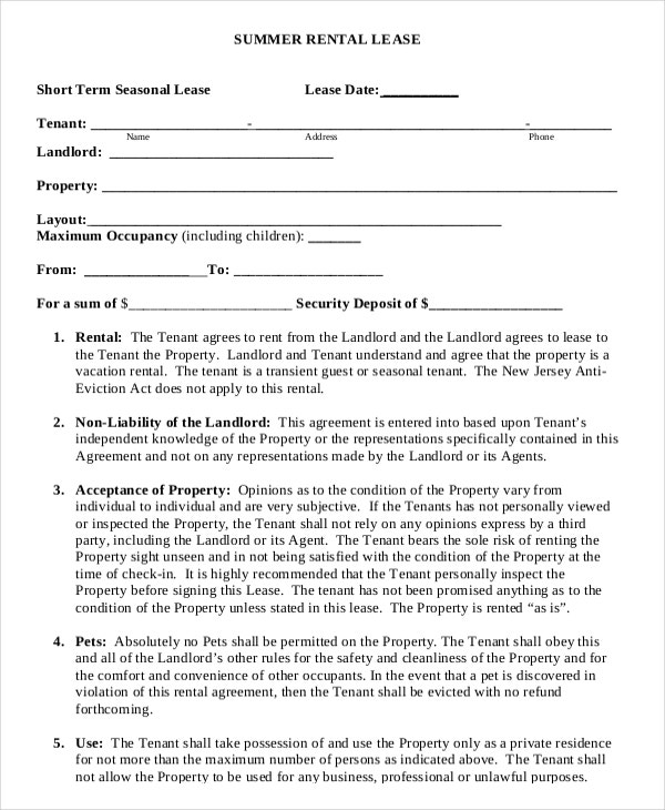 Summer Vacation Lease Agreement Sample Download