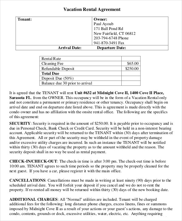 Vacation Rental Agreement  Free Sample Example Format Download