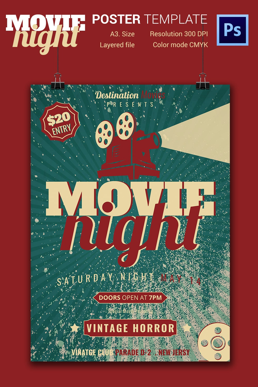 movie night flyer jpg psd format movie night flyer template