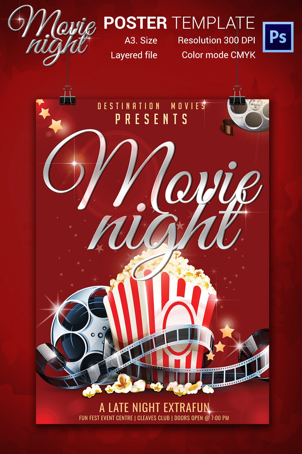 movie night flyer jpg psd format elegant movie night poster template