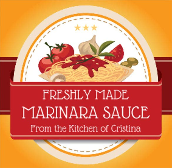 sauce food label template download