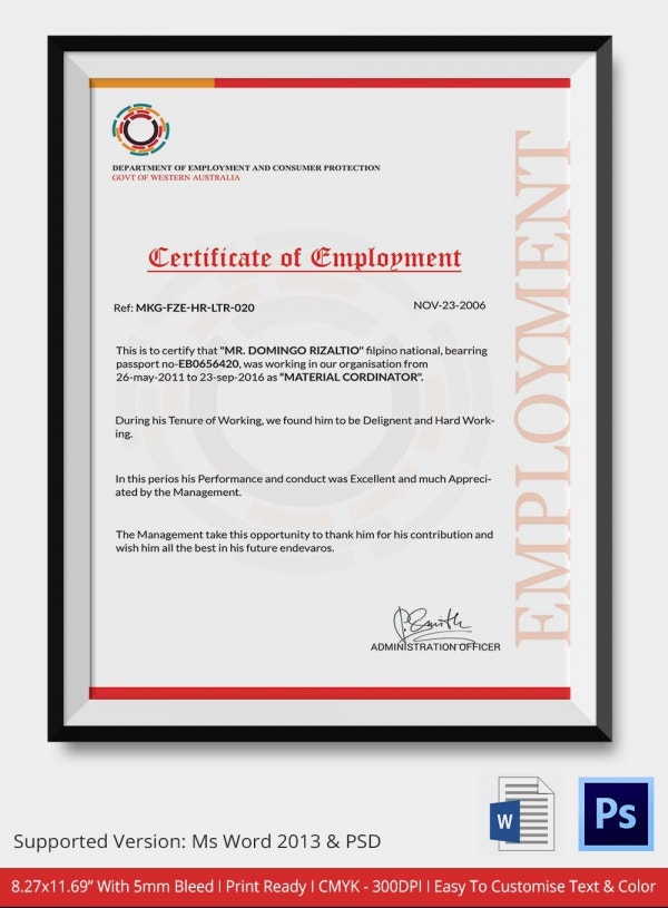 certificate of employment template - 15 sample certificate of employment templates free