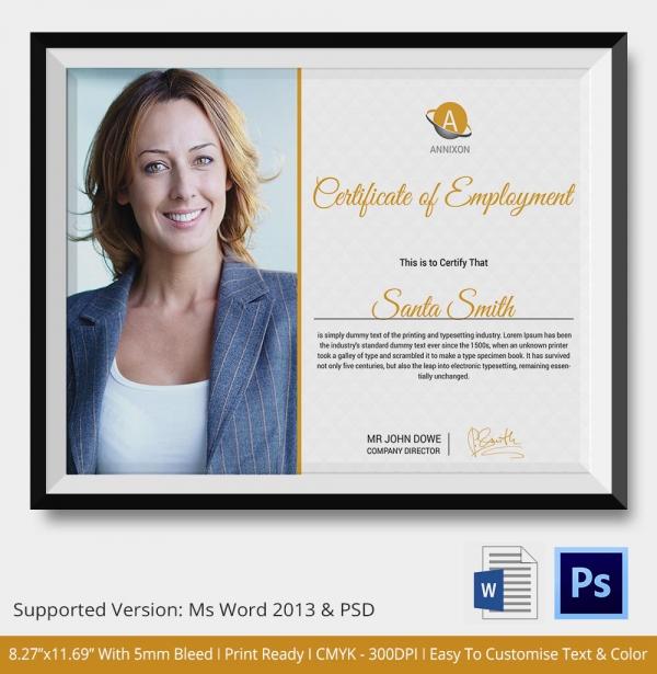 Full Time Employee Certificate