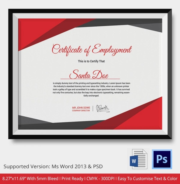 Sample Certificate Of Employment Templates  Free Sample