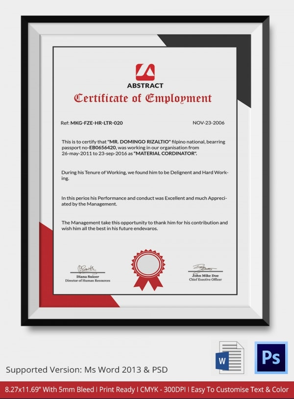 Independent Employment Contractor Certificate