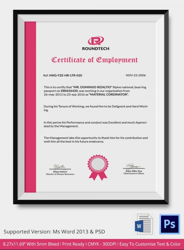 15 sample certificate of employment templates free