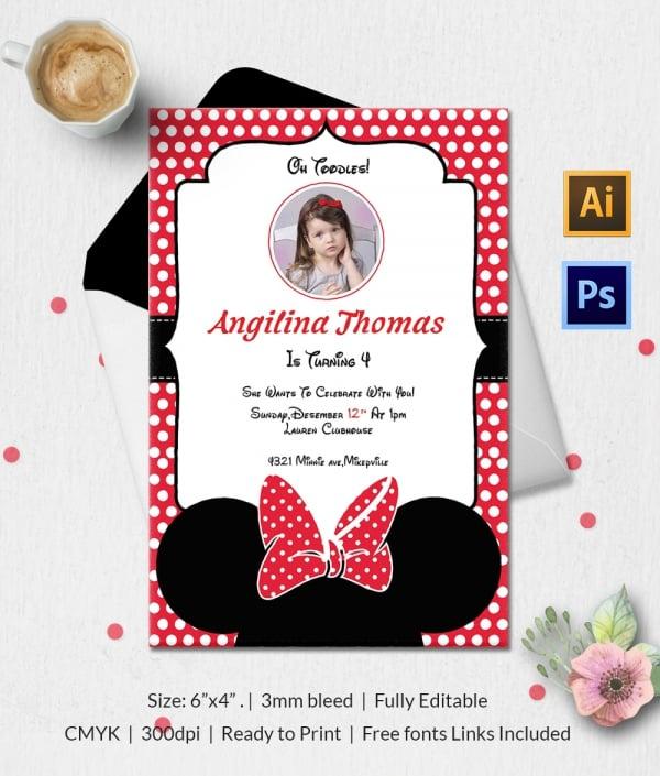 Minnie Mouse Printable Birthday Invitation Classic