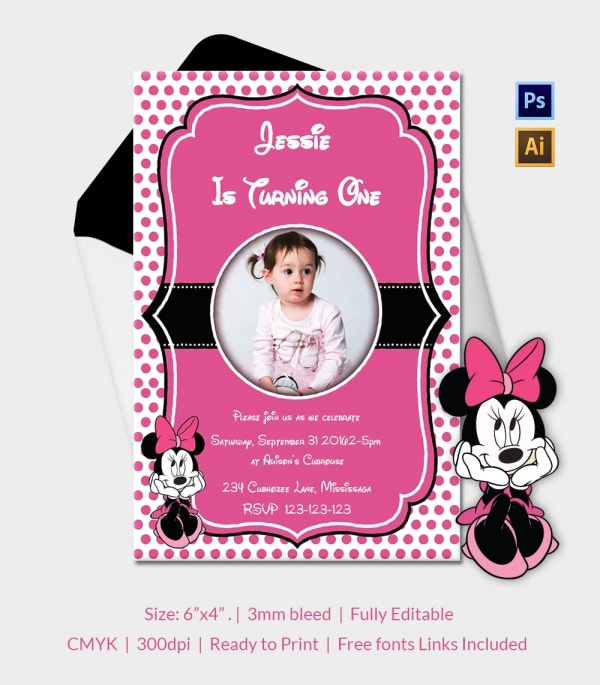 Baby Minnie Mouse Party Invitation Template