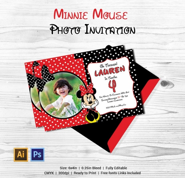 Minnie Mouse Photo Invitation Template