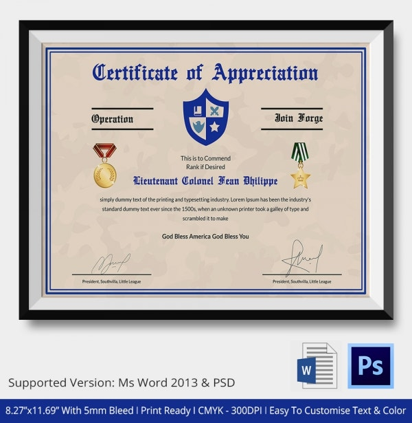 Certificate of Appreciation Templates 24 Free Word PDF – Army Certificate of Appreciation