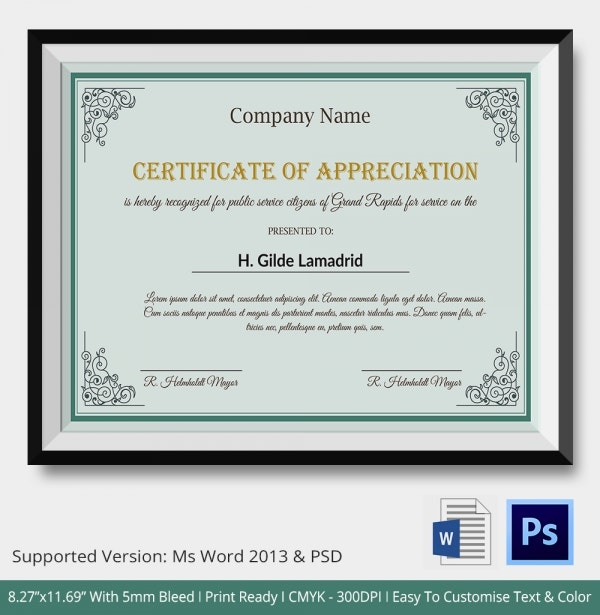 Company Appreciation Certificate Template