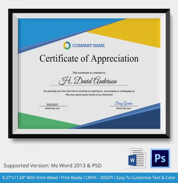 Certificate of appreciation templates 24 free word pdf for Certificate of appreciation template psd free download