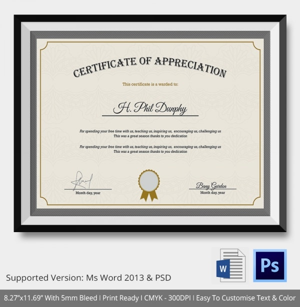Certificate Of Appreciation Templates   Free Word Pdf