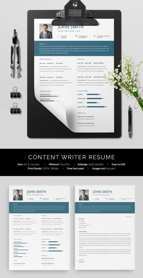 Content Writer One Page Resume