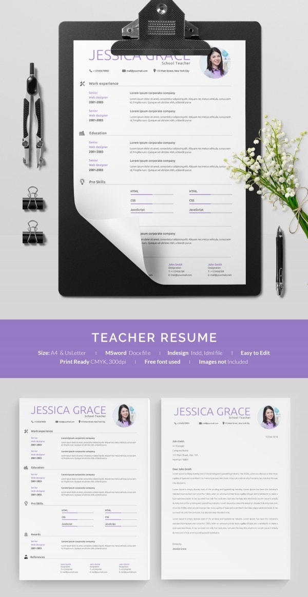 One Page Teacher Resume