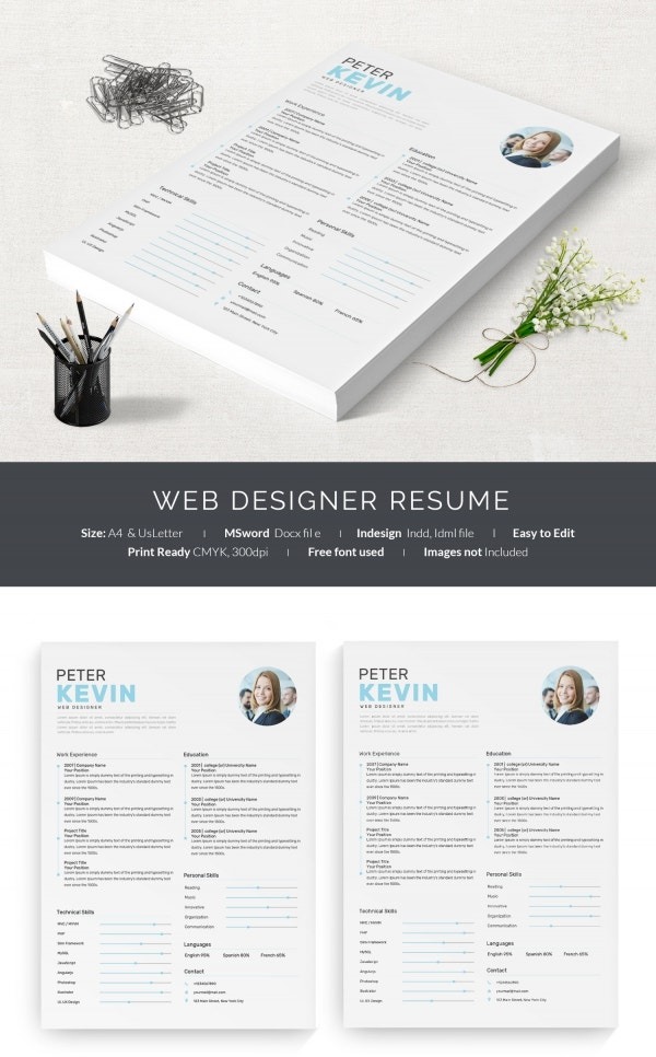 1 page resume template word download one professional web designer with